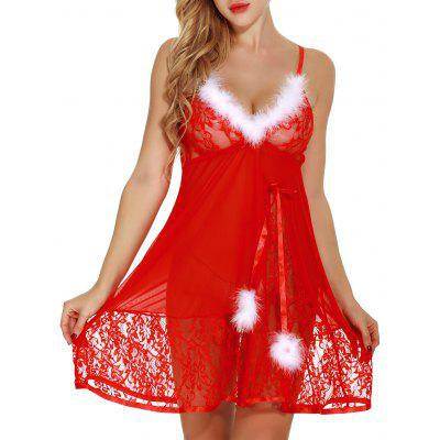 Feathers See Through Lace Santa Lingerie Babydoll