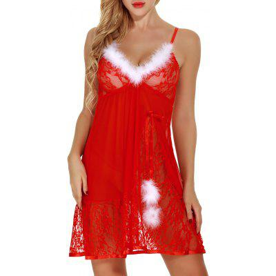 Feathers See Through Lace Santa Lingerie BabydollLingerie &amp; Shapewear<br>Feathers See Through Lace Santa Lingerie Babydoll<br><br>Embellishment: Bowknot,Feathers<br>Fabric Type: Voile<br>Material: Polyester<br>Package Contents: 1 x Babydoll<br>Pattern Type: Solid<br>Weight: 0.1800kg