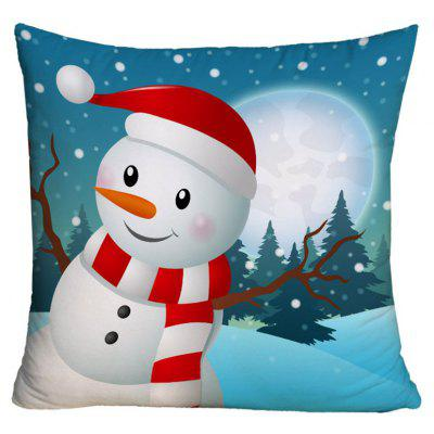 Christmas Snowman Print Decorative Pillowcase