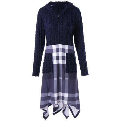 Plus Size Cable Knit Hooded Handkerchief Dress