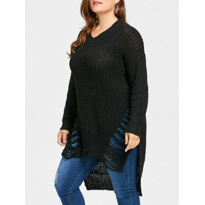 Buy BLACK 2XL Plus Size Distressed High Low Longline Sweater for $31.40 in GearBest store