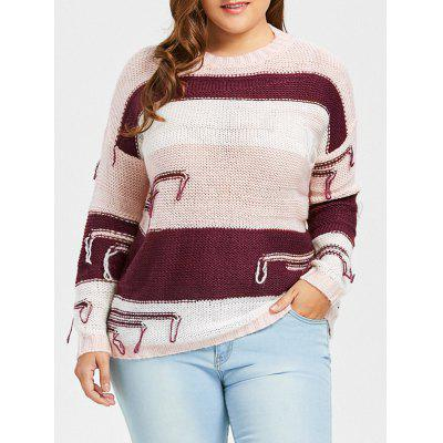 Plus Size Drop Shoulder Chunky Striped Sweater