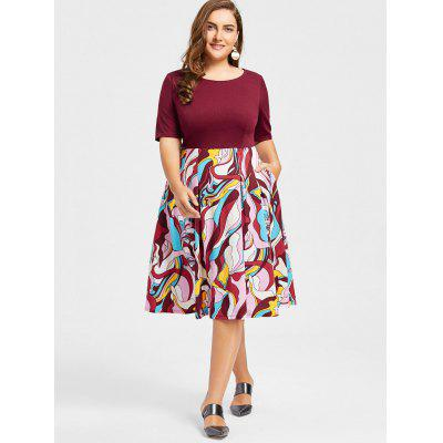 Plus Size Floral Print Fit and Flare DressPlus Size Dresses<br>Plus Size Floral Print Fit and Flare Dress<br><br>Dresses Length: Knee-Length<br>Material: Cotton, Polyester<br>Neckline: Round Collar<br>Package Contents: 1 x Dress<br>Pattern Type: Floral<br>Season: Spring, Fall<br>Silhouette: A-Line<br>Sleeve Length: Half Sleeves<br>Style: Casual<br>Weight: 0.5850kg<br>With Belt: No