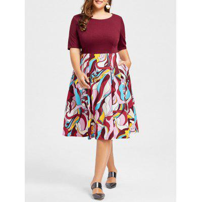Plus Size Floral Print Fit and Flare Dress