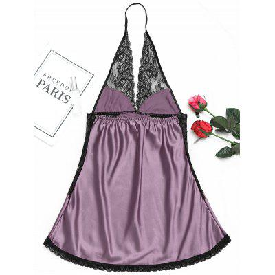 Halter Lace Insert BabydollPajamas<br>Halter Lace Insert Babydoll<br><br>Embellishment: Backless,Lace<br>Material: Polyester<br>Package Contents: 1 x Babydoll<br>Pattern Type: Others<br>Weight: 0.1700kg