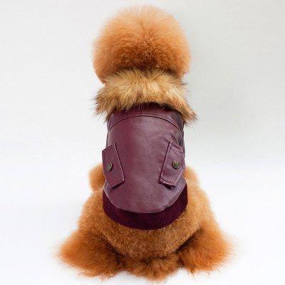 Faux Fur Collar Leather Coat for Dog