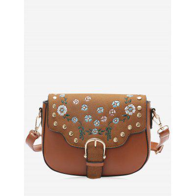 Buy BROWN Flower Embroidery Rivets Buckle Strap Crossbody Bag for $24.35 in GearBest store