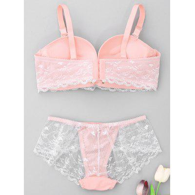 Lace See Through Bra SetLingerie &amp; Shapewear<br>Lace See Through Bra Set<br><br>Bra Style: Push Up<br>Closure Style: Three Hook-and-eye<br>Cup Shape: Full Cup<br>Embellishment: Lace<br>Materials: Nylon, Spandex<br>Package Contents: 1 x Bra  1 x Panties<br>Pattern Type: Others<br>Strap Type: Adjusted-straps<br>Style: Sweet<br>Support Type: Wire Free<br>Weight: 0.2200kg