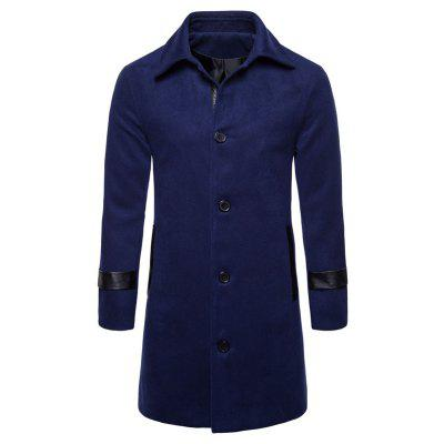 Turndown Collar PU Leather Edging Woolen Coat