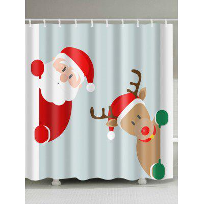 Santa Claus Christmas Deer Print Waterproof Bath Curtain