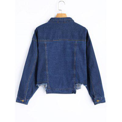 Floral Appliqued Frayed Hem Denim JacketJackets &amp; Coats<br>Floral Appliqued Frayed Hem Denim Jacket<br><br>Clothes Type: Jackets<br>Collar: Shirt Collar<br>Embellishment: Appliques<br>Material: Polyester, Jeans<br>Package Contents: 1 x Jacket<br>Pattern Type: Floral<br>Shirt Length: Regular<br>Sleeve Length: Full<br>Style: Fashion<br>Type: Asymmetric Length<br>Weight: 0.6500kg