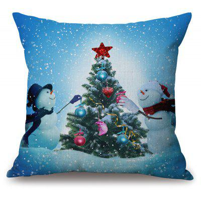 Christmas Tree Snowman Print Thick Throw Pillowcase