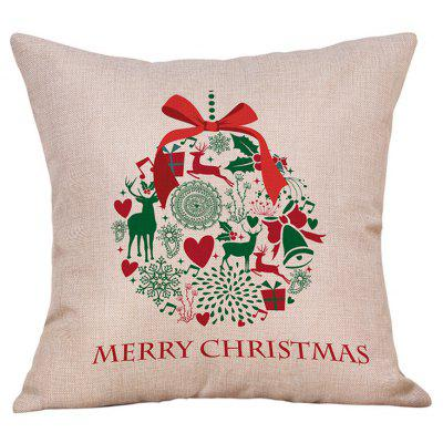 Christmas Bowknot Wreath Print Linen Pillowcase
