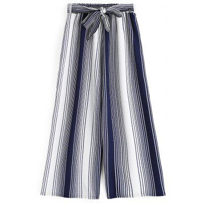 Bowknot Stripes Wide Leg Ninth Pants