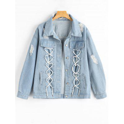 Button Up Lace Up Distressed Denim Jacket