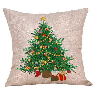 Christmas Tree Gifts Print Linen Pillowcase