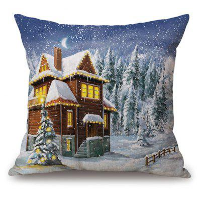 Christmas Forest House Print Thick Throw Pillowcase