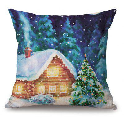 Christmas Forest House Print Thick Throw Pillow Case