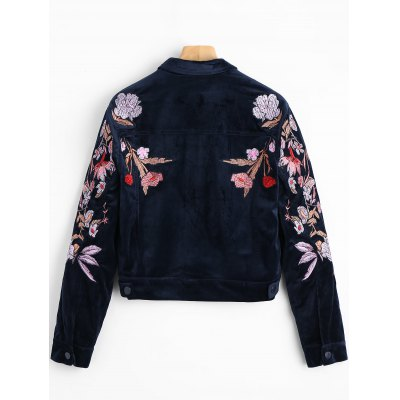 Flower Embroidered Velvet Shirt JacketJackets &amp; Coats<br>Flower Embroidered Velvet Shirt Jacket<br><br>Closure Type: Single Breasted<br>Clothes Type: Jackets<br>Collar: Shirt Collar<br>Embellishment: Embroidery<br>Fabric Type: Velour<br>Material: Polyester<br>Package Contents: 1 x Shirt Jacket<br>Pattern Type: Floral<br>Shirt Length: Short<br>Sleeve Length: Full<br>Style: Fashion<br>Type: Slim<br>Weight: 0.5500kg