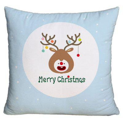 Christmas Cartoon Elk Print Decorative Pillowcase