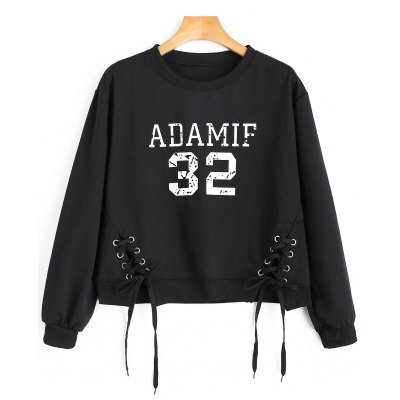Crew Neck Adamif Graphic Lace-up Sweatshirt