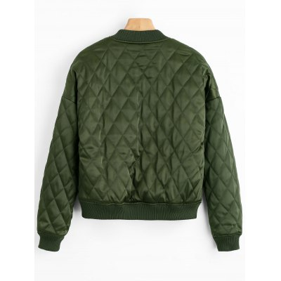 Drop Shoulder Zip Up Quilted JacketJackets &amp; Coats<br>Drop Shoulder Zip Up Quilted Jacket<br><br>Closure Type: Zipper<br>Clothes Type: Jackets<br>Collar: Stand-Up Collar<br>Embellishment: Embroidery<br>Material: Polyester<br>Package Contents: 1 x Quilted Jacket<br>Pattern Type: Solid<br>Shirt Length: Regular<br>Sleeve Length: Full<br>Style: Casual<br>Type: Slim<br>Weight: 0.5900kg