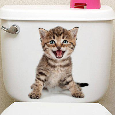 3D Animal Toilet Closestool Wall Art Sticker