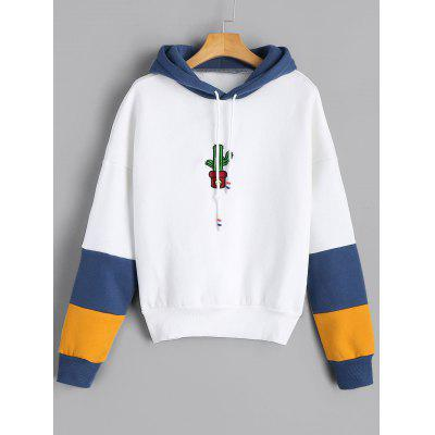 Cacti Embroidery Contrast Drawstring Hoodie