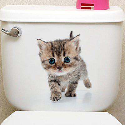 Buy GRAY 3D Animal Toilet Closestool Wall Art Sticker for $1.96 in GearBest store