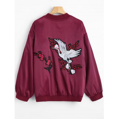 Red Crowned Crane Zip Up Souvenir JacketJackets &amp; Coats<br>Red Crowned Crane Zip Up Souvenir Jacket<br><br>Closure Type: Zipper<br>Clothes Type: Jackets<br>Collar: Stand-Up Collar<br>Embellishment: Embroidery<br>Material: Polyester<br>Package Contents: 1 x Souvenir Jacket<br>Pattern Type: Character<br>Shirt Length: Regular<br>Sleeve Length: Full<br>Style: Fashion<br>Type: Slim<br>Weight: 0.5400kg