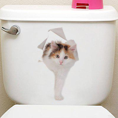 Buy COLORMIX 3D Animal Toilet Closestool Wall Art Sticker for $1.96 in GearBest store