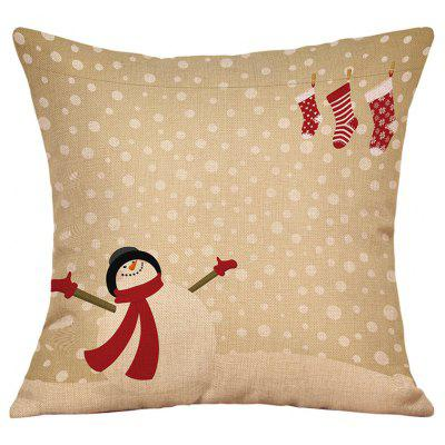 Snowy Christmas Snowman Print Linen Pillowcase