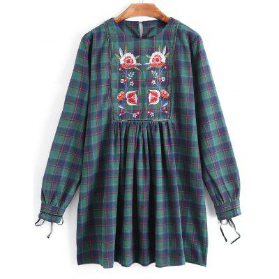 Checked Floral Embroidered Long Sleeve Dress