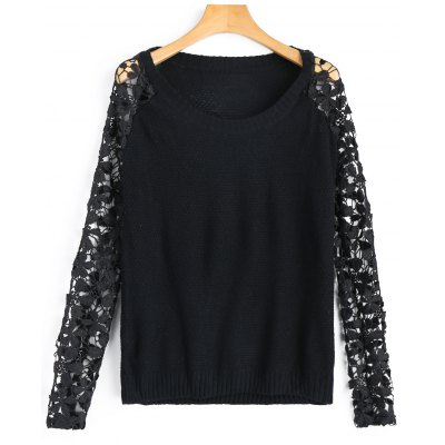Crew Neck Lace Sleeve Sweater