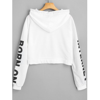 Letter Drawstring Cropped HoodieSweatshirts &amp; Hoodies<br>Letter Drawstring Cropped Hoodie<br><br>Clothing Style: Hoodie<br>Material: Cotton, Polyester<br>Package Contents: 1 x Hoodie<br>Pattern Style: Letter<br>Shirt Length: Short<br>Sleeve Length: Full<br>Weight: 0.2950kg