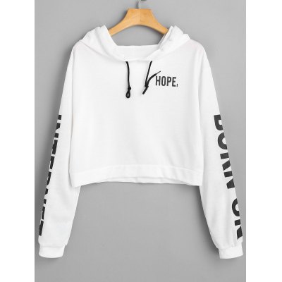 Letter Drawstring Cropped Hoodie
