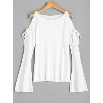 Bowknot Cold Shoulder Flare Sleeve Knit Top