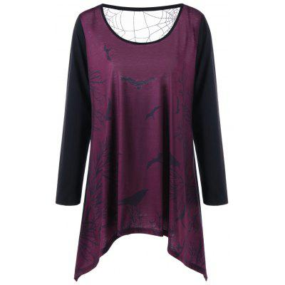 Plus Size Spider Web Sheer Long Sleeve Top