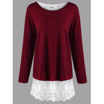 Plus Size Lace Panel Long Sleeve Striped T-shirt