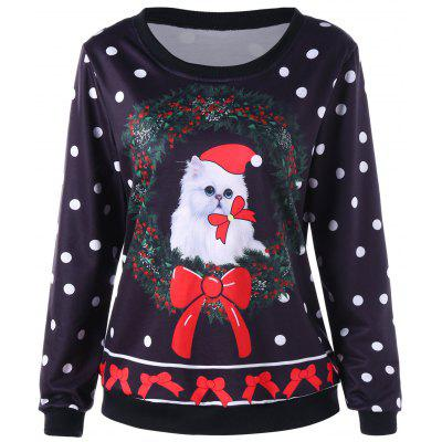 Christmas Polka Dot and Cat Print Sweatshirt
