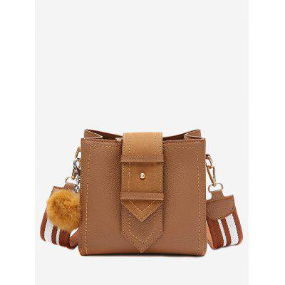 Buy BROWN Buckle Strap Stitching Pompom Crossbody Bag for $22.55 in GearBest store
