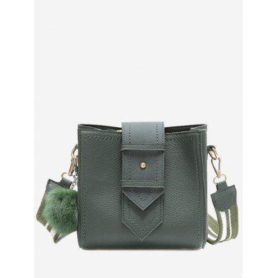 Buy GREEN Buckle Strap Stitching Pompom Crossbody Bag for $22.55 in GearBest store