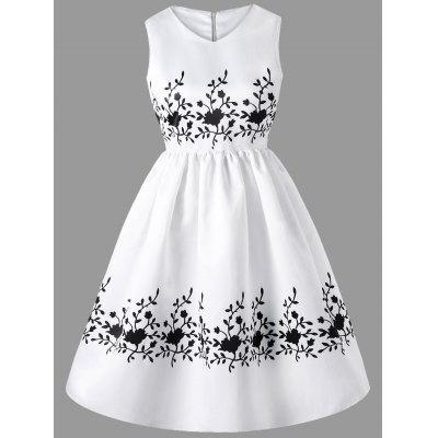 Fit and Flare Sleeveless Print Dress