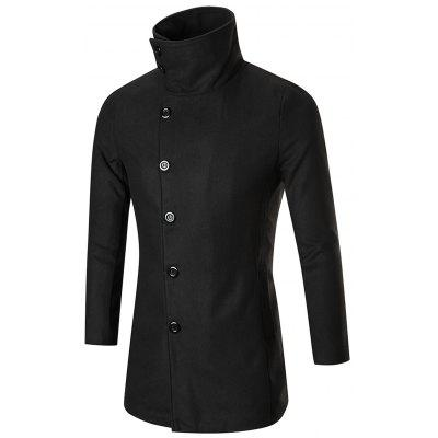 Single Breasted High Collar Wool Blend Coat