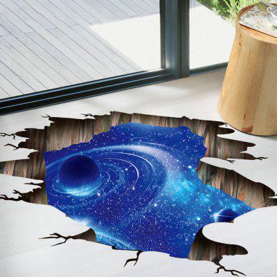 Galaxy Planet 3D Broken Floor Sticker For Living Room