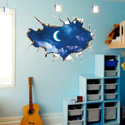 Moon 3D Broken Wall Art Sticker For Living Room