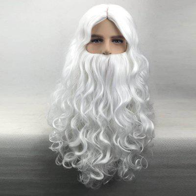 Long Middle Part Curly Synthetic Christmas Santa Claus Wig With Beard