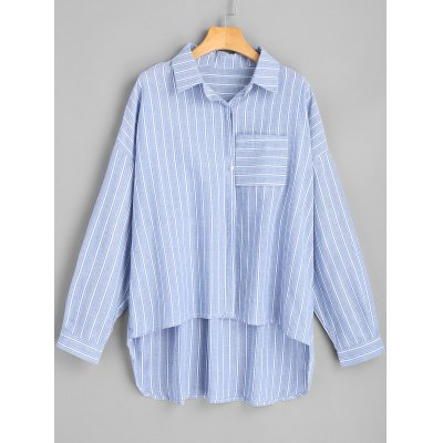 High Low Striped Oversized Shirt