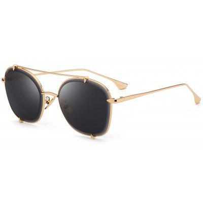Outdoor Metal Frame Crossbar Embellished Polit Sunglasses