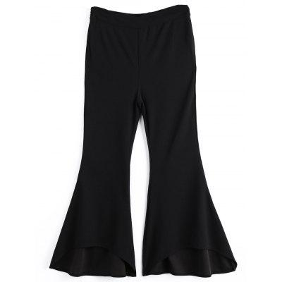 High Low Hem Side Zip Bell Bottom Pants